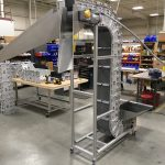 Vertical Z Conveyor with Split Belt & Chutes