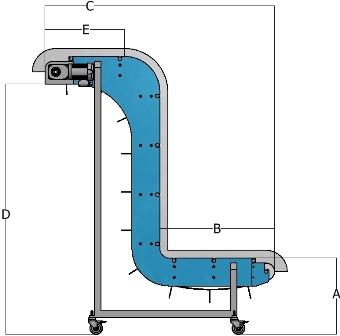 DynaClean Vertical Z Conveyor Diagram